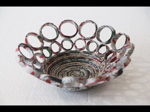 Recycled magazine bowls basket - DIY Useful Idea