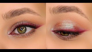 Эффектный дневной макияж Мягкие бордовые стрелки