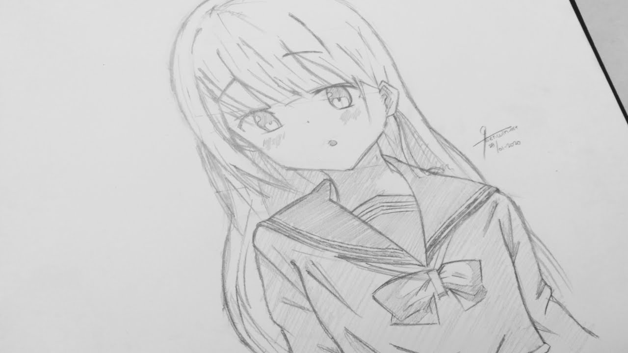 Tutorial! How to draw cute anime girl - School uniform with pencil