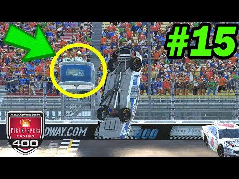CRASHED INTO THE FLAGSTAND  ---  [NASCAR Heat 2 Michigan -- Cup Series 15/36]