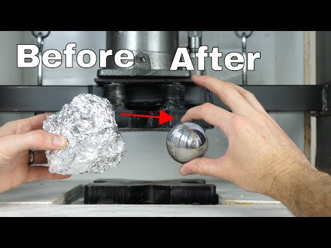 Mirror-Polished Japanese Foil Ball Challenge Crushed in a Hydraulic Press-What's Inside?