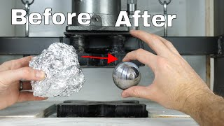 Mirror-Polished Japanese Foil Ball Challenge Crushed in a Hydraulic Press-What's Inside? thumbnail