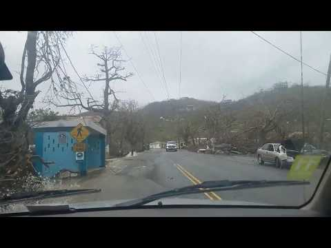 Flooded Roads in Smith Bay St Thomas USVI after Hurricane Maria 2017