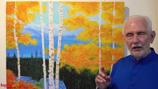 Tahoe Autumn painting | Listen to Nayaswami Jyotish, a painter and a yogi, talk about his painting