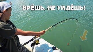 Влад тащит сома. Рыбалка с квоком