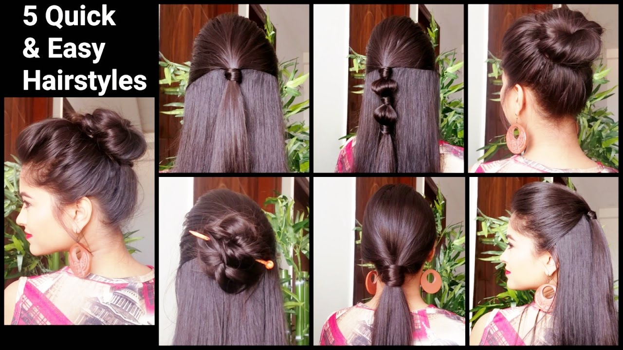5 Quick U0026 Easy Hairstyles For Medium To Long Hair//Back To School Hairstyles  //Indian Hairstyles   YouTube