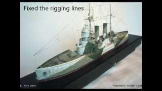 Scratch built a Pre-dreadnought battleship . 纸製模型 前無畏艦製作全記錄