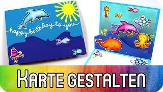 """Karte zum Geburtstag mit """"Stitched Hillside Pop-Up""""-Stanze und Stempelset """"Critters in the Sea"""""""