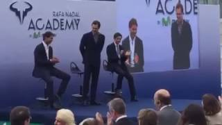 Rafa Nadal and Roger Federer speeches during the opening ceremony at Rafa Nadal Academy 10/19/2016