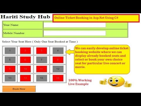#1 Online Ticket Booking Basic Website in Asp.Net C# | Hindi | Free Online Classes | Live Concert