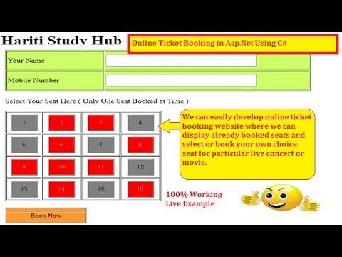 1 Online Ticket Booking Basic Website in Asp.Net C#   Hindi   Free ...