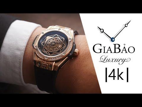 Review trên tay đồng hồ Hublot Big Bang Sang Bleu King Gold Diamonds 39mm