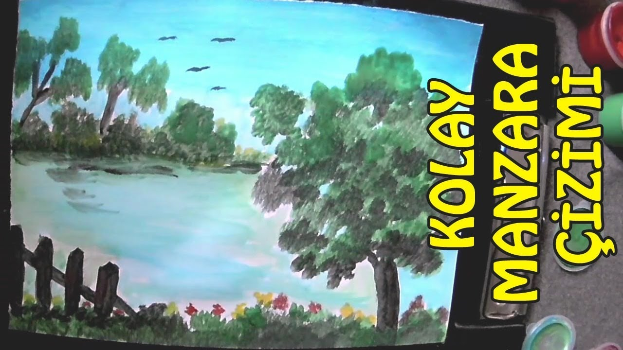 Very Easy Landscape Drawing Just Touching It Watery Paint Guage Paint
