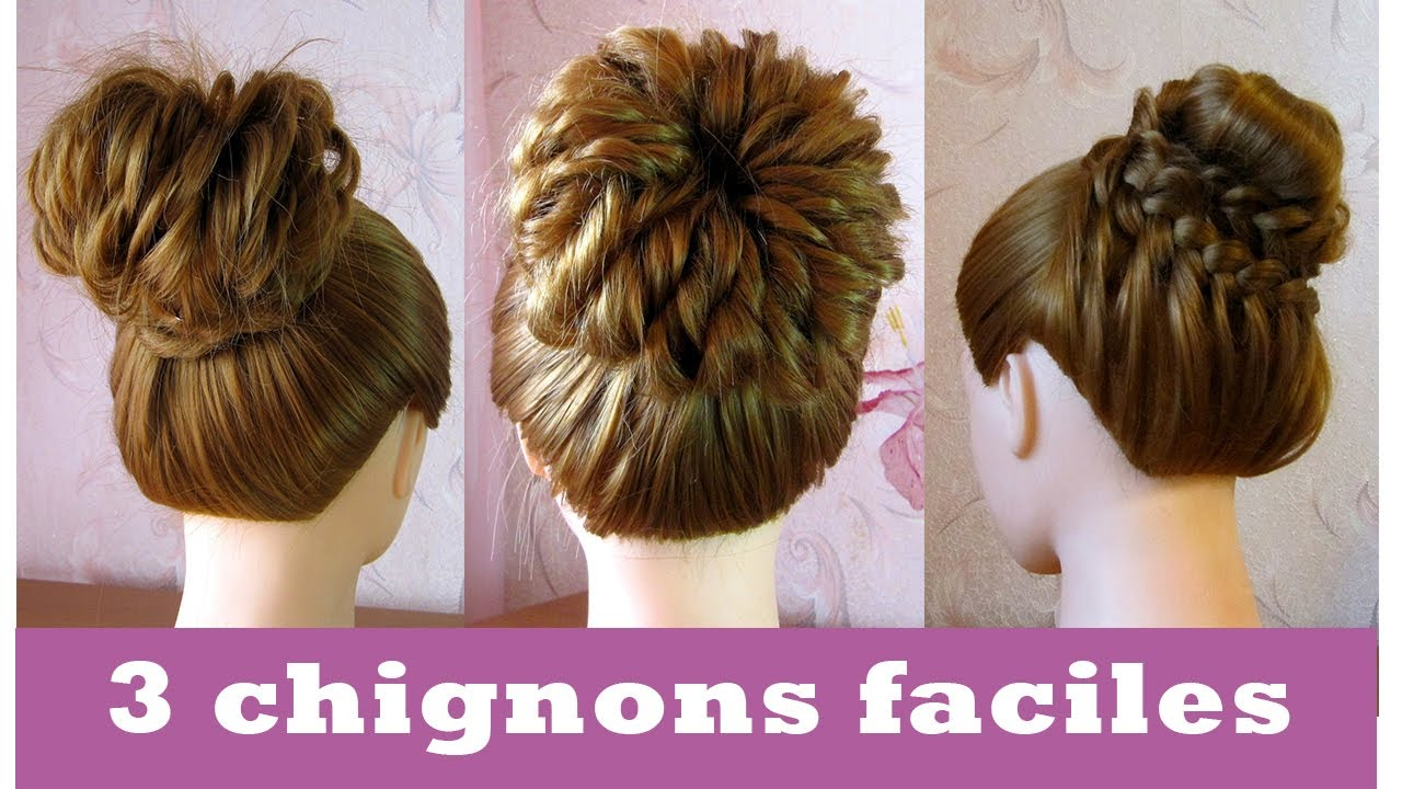 Chignon facile СЂС–РІВ  faire cheveux long