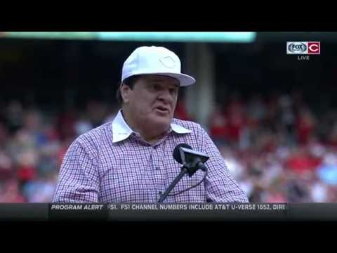 Pete Rose thanks Reds fans during Reds Hall of Fame induction