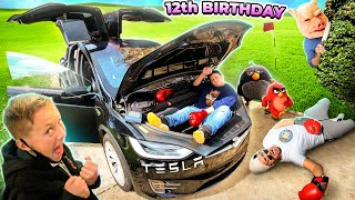 MIKE finally got a TESLA for his BIRTHDAY! 🎂🚗🔑 (FV Family 12th Bday Vlog)