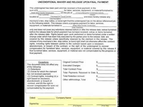 Unconditional Lien Waiver On Final Payment - Youtube