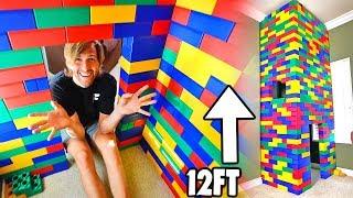 INSANE 12FT LEGO FORT! (INSIDE OUR HOUSE)