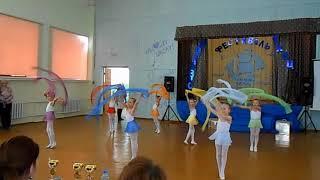 """Спортивный танец """"Радуга желаний"""" с лентами. Д/с № 42 """"Пингвинчик"""", г. Верхняя Салда."""