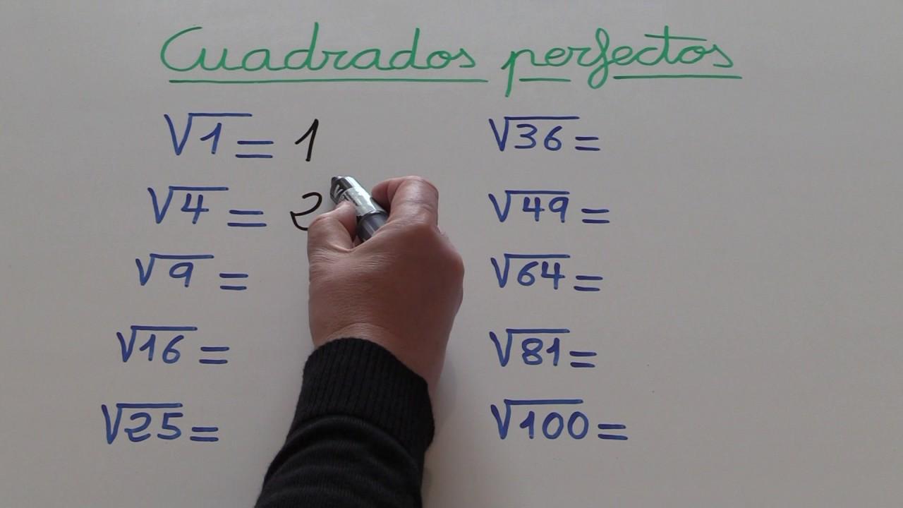 Cuadrados perfectos. Raíz cuadrada de 1, 4, 9, 16, 25, 36, 49, 64 ...