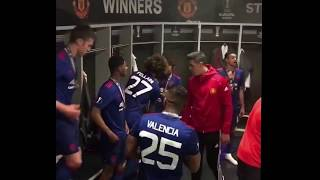 Manchester United players dressing room celebration after winning the Europa league final