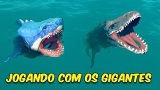 JOGANDO COM O MEGALODON E MOSSASAURO | Feed and Grow Fish