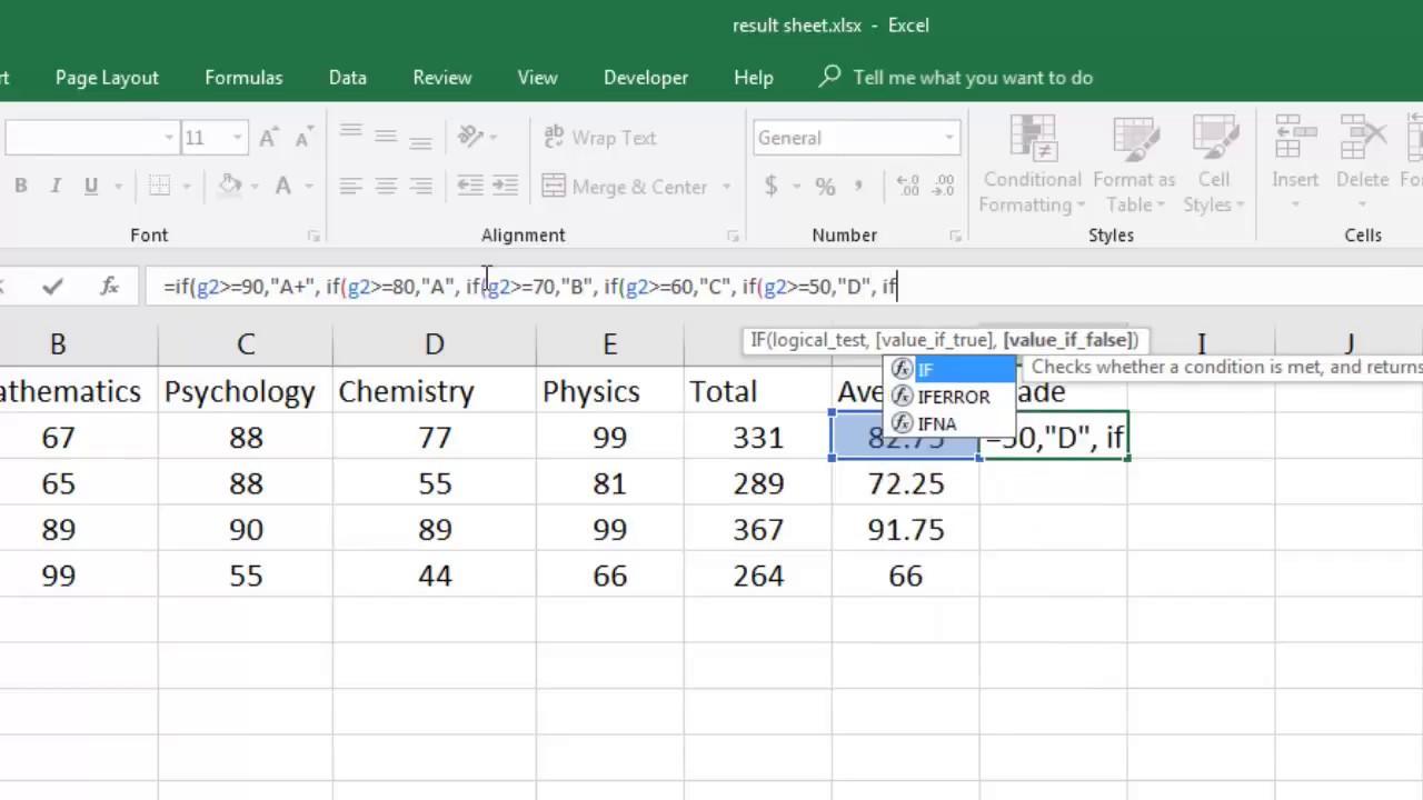 excel grade calculator formula using if youtube