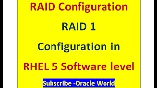RAID 1 Configuration at Software level in linux-RHEL5