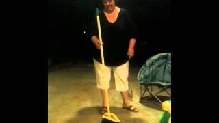 Pam magic broom balance trick!