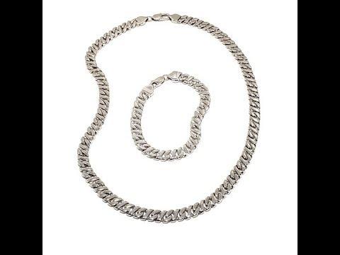 Men's Steel SLink Bracelet and Necklace Set. https://pixlypro.com/juiizVJ