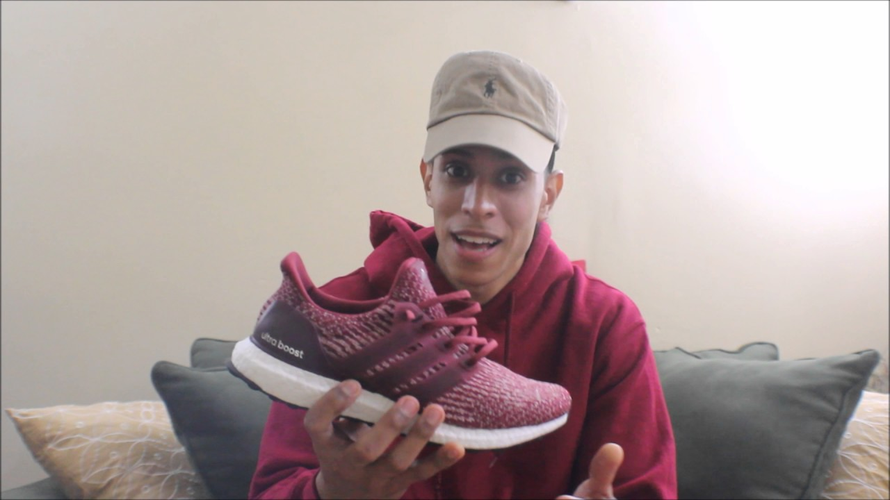 55bfa44a139 Adidas Ultra Boost Burgundy 3.0 Review + Sizing and On Feet - YouTube