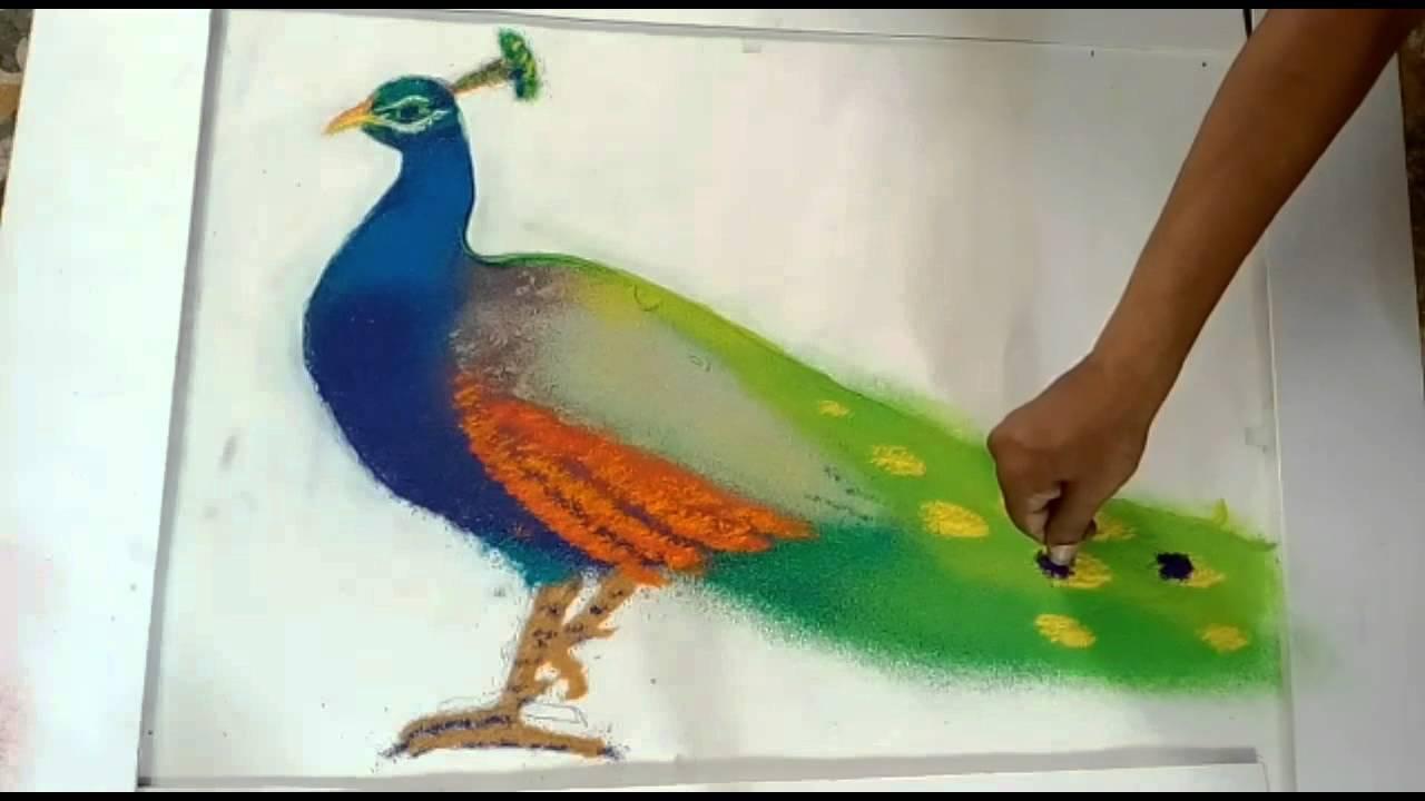 Beautiful Color Shading Peacock Rangoli Youtube