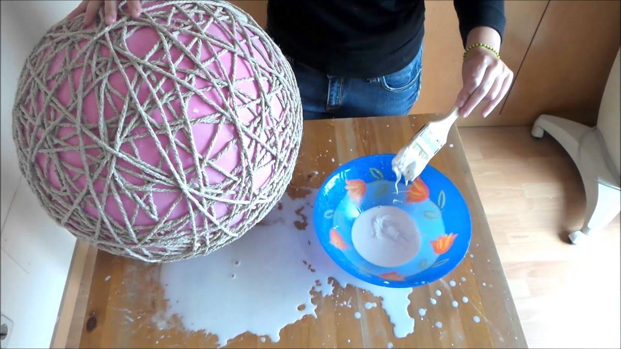 Como hacer una lampara con cuerda en forma de globo Ideas