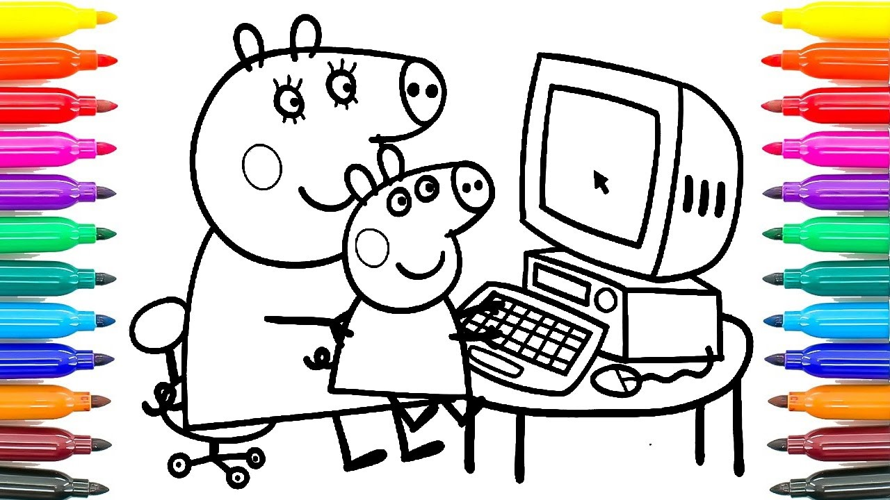 Peppa Pig Coloring Mummy Pig and George Playing the computer Funny ...