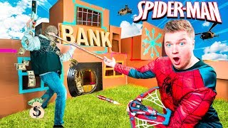 SPIDERMAN Far From Home BOX FORT! STOP The BANK ROBBER