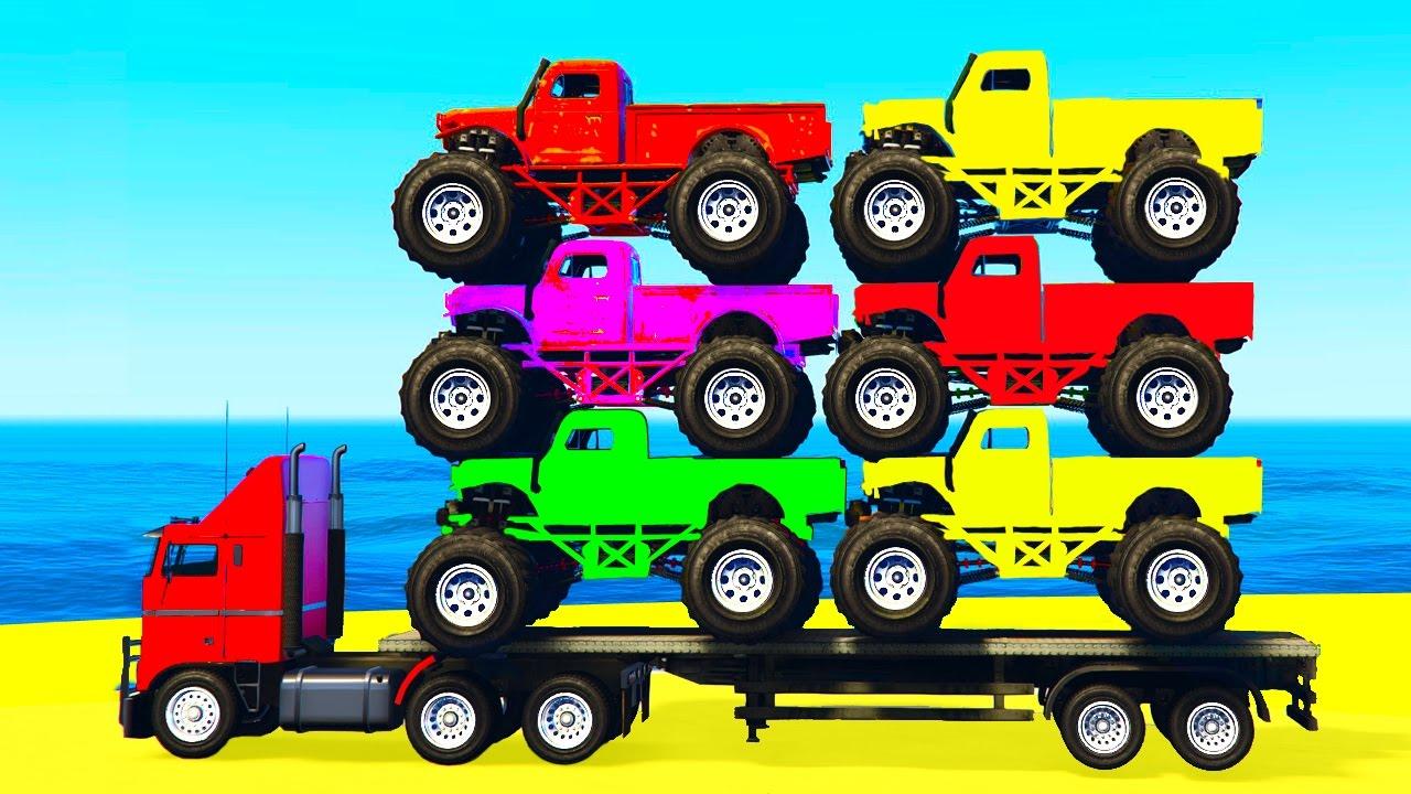 Monster Truck Transportation In Spiderman Kids Cars Cartoon W
