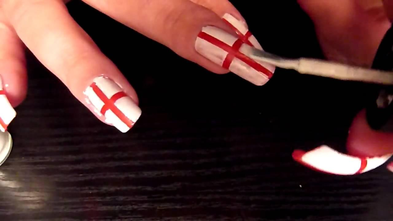 England Flag Nail Art Tutorial FIFA World Cup 2010 Very Easy Design ...