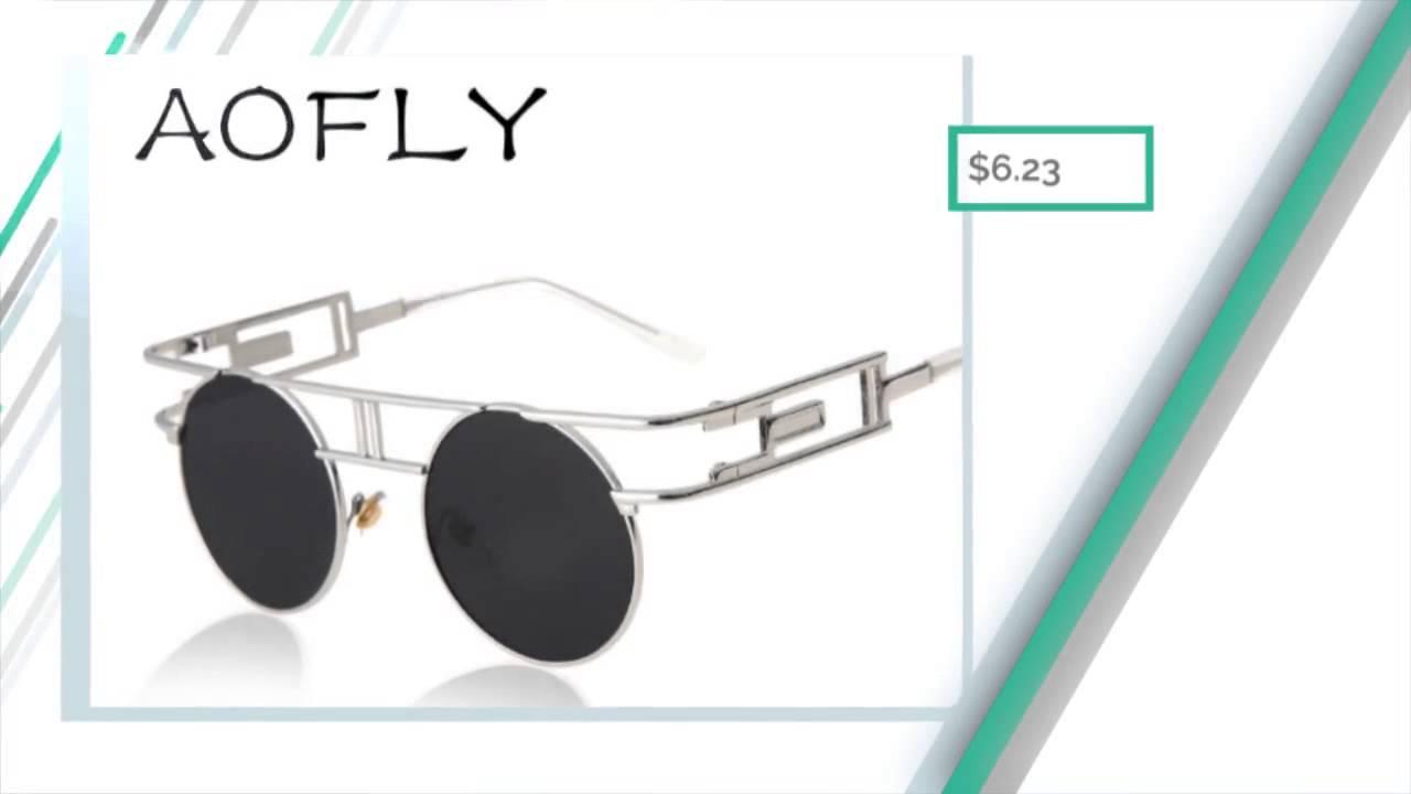d576decab05 AOFLY Fashion Metal Frame Steampunk Sunglasses Women Brand Designer Unique  Men Gothic Sun glasses V
