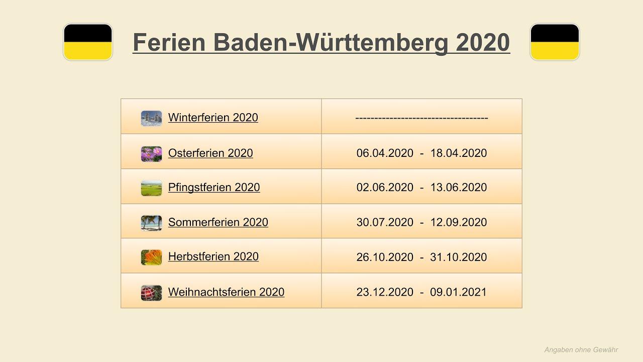 Pfingstferien baden-württemberg 2020