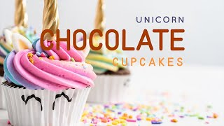 Unicorn chocolate cupcakes with  rainbow buttercream frosting