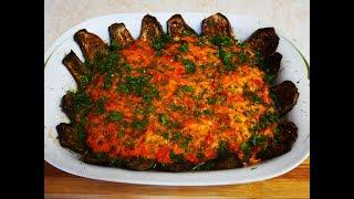 рецепт БАКЛАЖАНЫ запеченные БАКЛАЖАНЫ с ФАРШЕМ под томатной заливкой Баклажаны в духовке