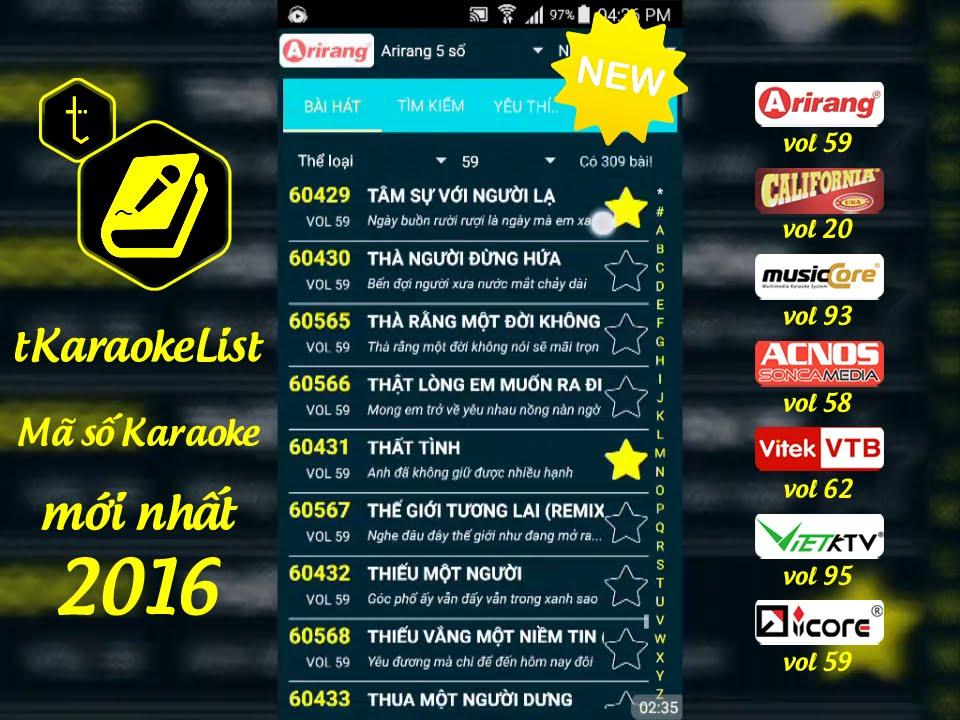 Mã số Karaoke Arirang vol 59 🎤 tKaraokeList