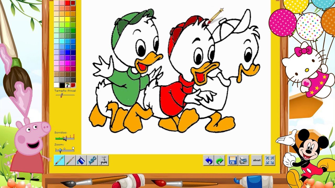Sobrinos del Pato Donald- PINTA Y COLOREA - YouTube