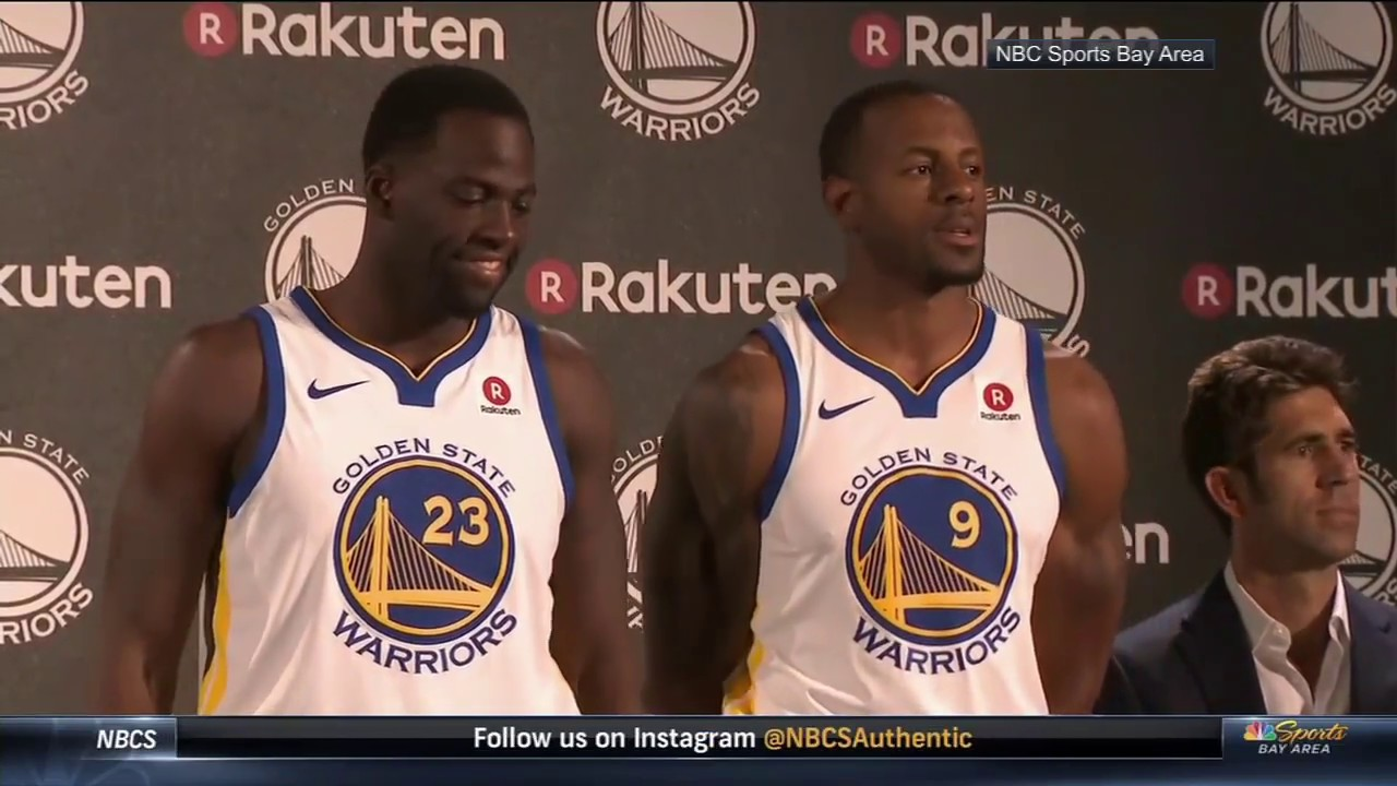 sports shoes 38338 02ea3 Draymond Green and Andre Iguodala debut Warriors jersey with patch | ESPN