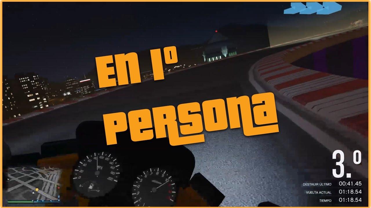 Carrera acrobática GTAV online 1º persona motos????  | Gameplay español????