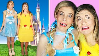 We Tried Making DIY Princess Costumes for First Date - Rebecca Maddie Challenges