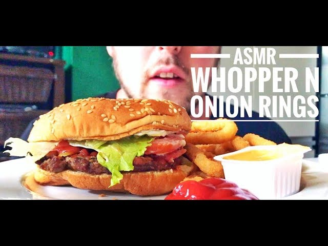 ASMR EATING BURGER KING WHOPPER AND ONIONS RINGS