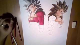 Speed drawing Goku and Vegeta SSj4