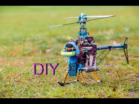 Converting a 450 Brushless Electric To Nitro Rc Helicopter - How to make Helicopter / 將450電直升機改15級引擎