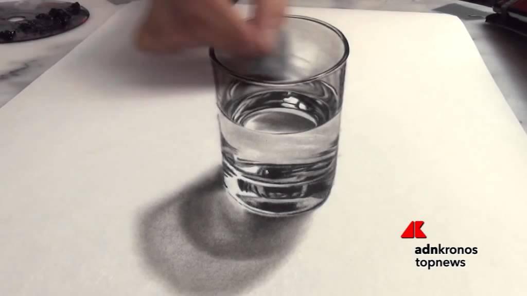 Bicchiere vero e 39 solo un disegno youtube for Disegno 3d free